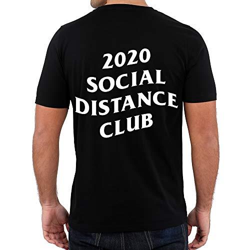 Custom With Us 2020 Social Distance Club | CORONAVIRUS Unisex Adult T-Shirt (XXX-Large) Black