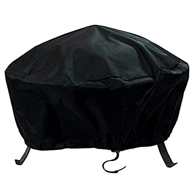 Sunnydaze Round Outdoor Fire Pit Cover - Waterproof and Weather Resistant Black Heavy Duty Vinyl PVC with Drawstring Closure - 48 Inch