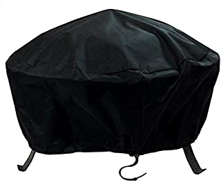 Sunnydaze Outdoor Fire Pit Cover - Heavy Duty Waterproof Reinforced Vinyl PVC - Weather Resistant with Drawstring & Toggle - 40 Inch Black Protective Cover