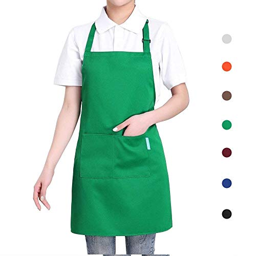 esonmus Cooking Apron Adults Polyester Kitchen Apron with Adjustable Neck Belt and 2 Pockets for Baking Gardening Restaurant BBQ for Men and WomenGreen
