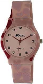 Ravel Hearts Pink Dial Pink Strap Girls Casual Watch R1532.03