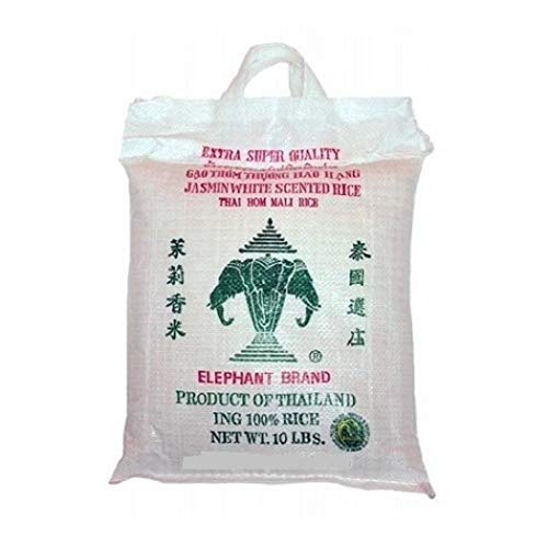 Three Head Elephant White Jasmine Rice 10LB Bag