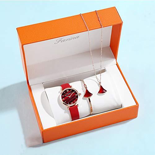 PIANAI Reloj para Mujer/Nuevo Reloj de Moda 2021 / Conjunto de Pulsera de Collar de Reloj/Reloj de Cuarzo para Mujer/Reloj de cinturón para Mujer,Rojo