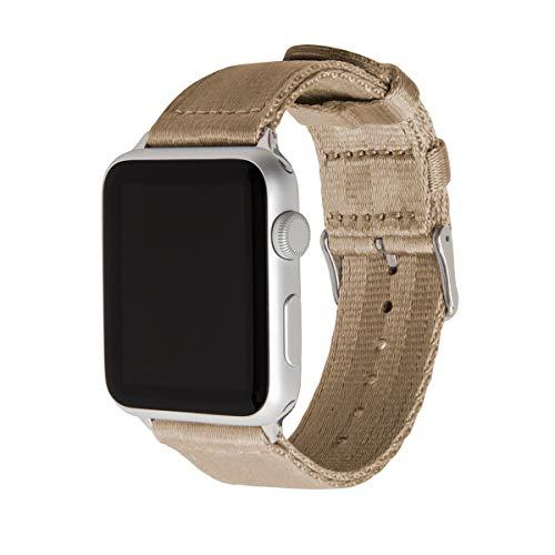 Archer Watch Straps | Sicherheitsgurt Stil gewebtes Nylon Armband für Apple Watch | Uhrenarmband für Herren und Damen | Khaki/Edelstahl, 42/44mm