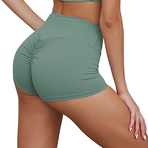 LANBAOSI Pantalones Cortos de Entrenamiento de Cintura Alta Mujer, Pantalones Cortos de Levantamiento de glúteos