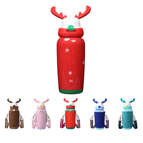 FACE Christmas Water Bottle Christmas Gifts For Kids Water Bottle Cute reindeer antlers Stainless Steel Thermoses, BAP Free, Leak-Proof,450 ml/15 oz