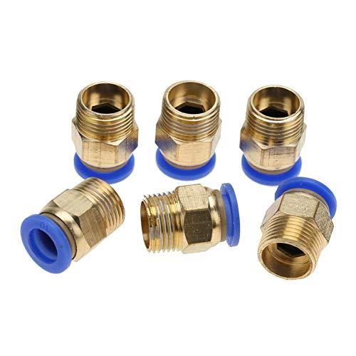 Rosca exterior, conector recto, conexión rápida de tubo de aire para aire comprimido limpio, vacío (8 mm).