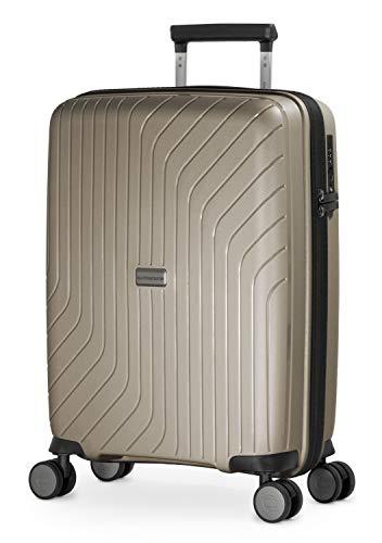 HAUPTSTADTKOFFER- TXL - leichtes Handgepäck, Kabinengepäck Hartschalen-Trolley aus robustem Polypropylen, Kabinentrolley 55 cm, 36 L, TSA-Schloss, Champagner