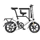 LILIJIA Bicicleta Eléctrica Plegable Aluminio 250 Vatios con Pedal para Adultos y Adolescentes, Bicicleta Eléctrica 16con Batería Iones Litio Gran Capacidad 36v / 7.5ah,Blanco,16 inch/36V