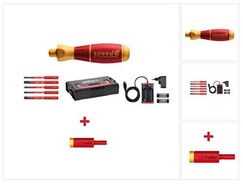 Wiha speedE® elektronischer Schraubendreher Set 1 + L-Boxx - 10 tlg. + 2x 1,5 Ah Akku + Ladegerät + Bits (41911) + Easy Torque Adapter 2,0 Nm (41342)