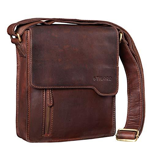 STILORD 'Cliff' Pequeño Bolso Mensajero Hombre Cuero Bolso de Hombro Masculino Bolsa Tablet de iPad 9,7 Pulgadas Bolso Bandolera de Piel, Color:Cognac marrón Oscuro