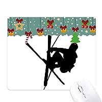 スポーツ・体育のスキー選手 ゲーム用スライドゴムのマウスパッドクリスマス