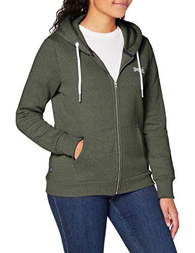 Superdry Womens ORANGE Label Zip Hood Cardigan Sweater, Washed Khaki Snowy, XL (Herstellergröße:16)