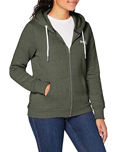 Superdry Womens ORANGE Label Zip Hood Cardigan Sweater, Washed Khaki Snowy, S