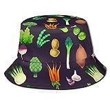 Sombrero de Cubo Unisex del Mercado de Agricultores Vegano Vegetal, Tela Que Absorbe la Humedad, protección Solar UV