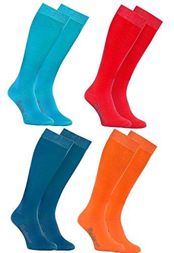 Rainbow Socks - Donna Uomo Colorate Calzini Lunghi Al Ginocchio di Cotone - 4 Paia - Blu Rojo Turquesa Amarillo - Tamaño 42-43