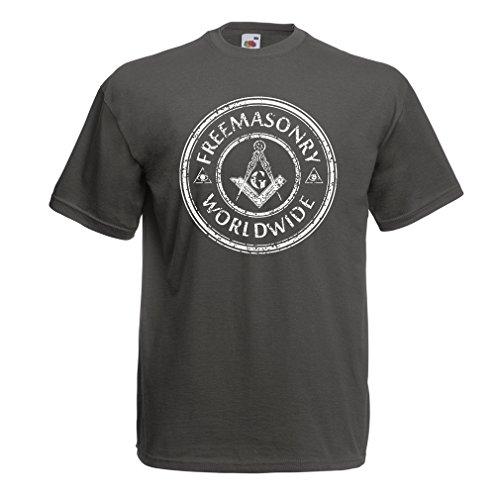 """T-Shirt pour Hommes """"Franc-maçonnerie dans Le Monde"""" Les Outils Francs-maçons Boussole carré (Large Graphite Multicolore)"""