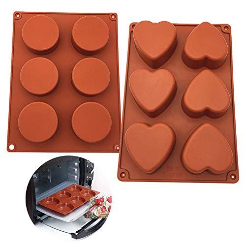 Moldes de Repostería de Silicona en Forma de Corazón 6 cavidades Molde de Silicona Redondo de 6 cavidades Antiadherentes...