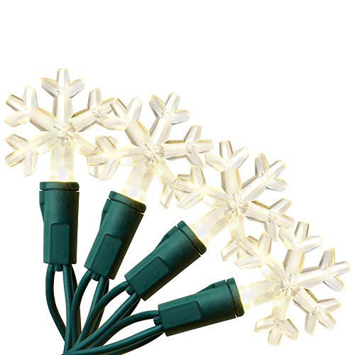 Aurio Outdoor/Indoor Christmas Lights 300-Count Total Snowflake LED, 50-Bulbs per 16.3FT Set, 300, Warm White