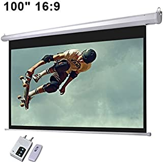 Electronic Wall/Ceiling Matte White Mountable Motorized Projection Screen w/ Remote (100