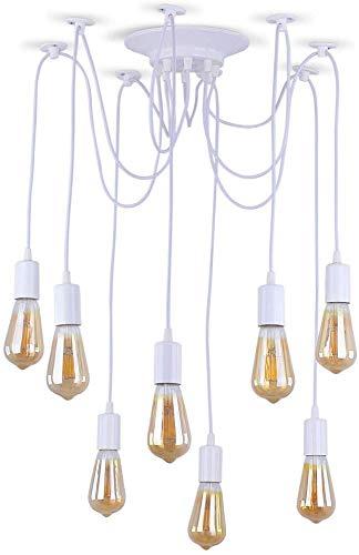 Lampada a ragno regolabile moderna bianca, illuminazione industriale a soffitto Edison, lampadario E27 (8 luci)