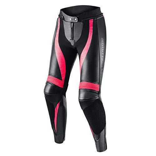 REBELHORN Rebel Leder Motorradhose für Frauen Knie und Hüftprotektoren Kevlar Verstärkungen Belüftung Elastische Paneele