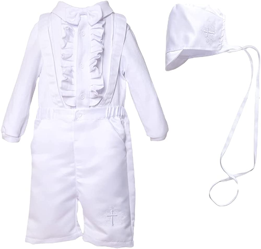 NIUBAO Baby Boy's Newborn Christening Baptism White Suspenders Outfits Long Sleeve Suit for 0-12 Months