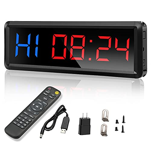 """Gym Timer,LED Workout Colck Count Down/Up Clock,11.5"""" x 4"""" Ultra-Clear Digital Display, Power Bank Compatible with Workout Metal Stopwatch, Multi-Scenes led Timer with Remote"""