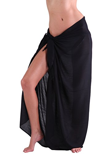 INGEAR Swimwear Long Batik Sarong Multi Wear Pareo Canga Swimsuit Beach Wrap for Women (One Size, Black)