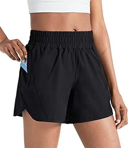 ZUTY 5' Athletic Running Shorts for Women with Zip Pocket High Waisted Quick Dry Workout Shorts with Liner Black L