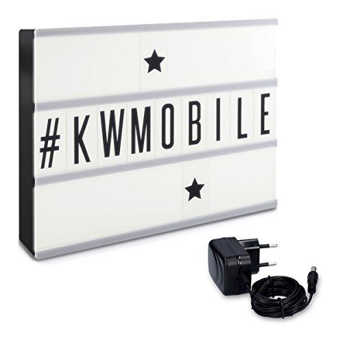 kwmobile LED Lichtbox A4 Lightbox - 105 schwarze Buchstaben Zahlen Zeichen Symbole - Netzteil - Deko...