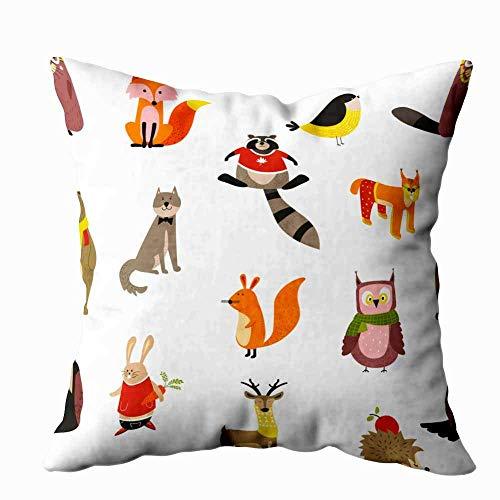 Funda de almohada para el hogar, 50,8 x 50,8 cm, mapache, lobo, zorro, búho, pájaro, bufanda, patrón de vida silvestre, animales, pájaros, decoración, fundas de almohada con cremallera para sofá cama