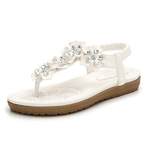 Sandalias para mujer, zapatos planos de talla grande, zapatos de verano, sandalias de flores de perlas cruzadas, sandalias de playa, sandalias informales, color blanco, 42