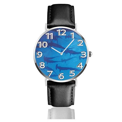 Hammerhead Shark Reloj Unisex Reloj Deportivo de Moda PU Banda de Cuero Relojes de Pulsera de Cuarzo Reloj clásico Delgado
