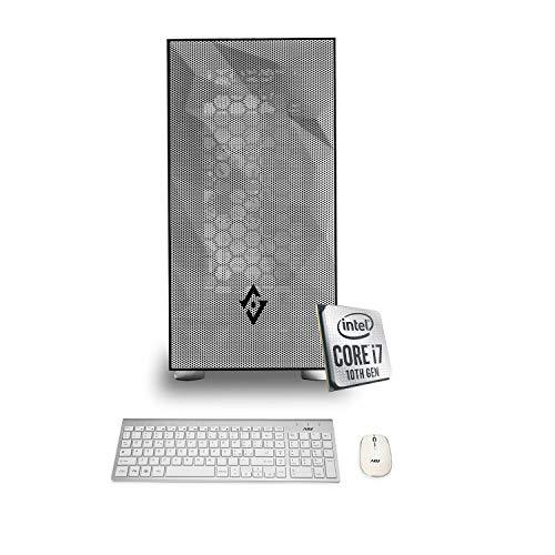 INVENTIVE A700 - Pc fisso Intel i7-10700 fino a 4.80 ghz Ram 16 Gb Ssd M2 256gb + Hard Disk 1 Tb WiFi Psu 80 Plus Windows 10 PRO Pc fisso i5 + Tastiera Mouse wi fi Slim Bianca