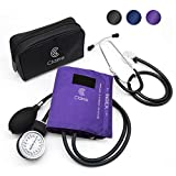 Clairre Professional Sphygmomanometer Manual Blood Pressure Cuff and Stethoscope Kit for Nurses/Doctors/Nursing Students, Carrying Case Included, Universal Cuff Size: 9-16 inch (Purple)