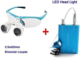 Zinnor Dental Surgical Binocular Loupes Optical Glass Loupe 2.5X420mm + Dental LED Head Light Lamp (Blue)