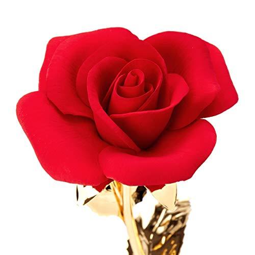 Rosa Dolly In Porcellana Su Stelo In Metallo Dorato Fatto A Mano In Italia Da Unionporcelain In Stile Capodimonte, Con Il Marchio Napoleon Made In Italy