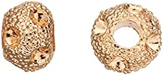 Zik-Zak Rondelle Gold-Finished Leather Cord Charm Fits 6Pcs ss14/pp27 Rhinestones 10Xmm sold per 6Pcs/Pack (4Pack Bundle), Save $3
