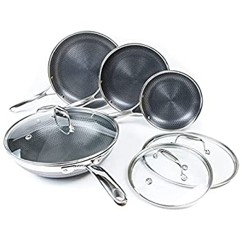 HexClad 7-Piece Hybrid Stainless Steel Cookware Set with Lids and Wok - Metal Utensil and Dishwasher Safe Induction Ready PFOA-Free Easy to Clean Non Stick Fry Pan with Covers