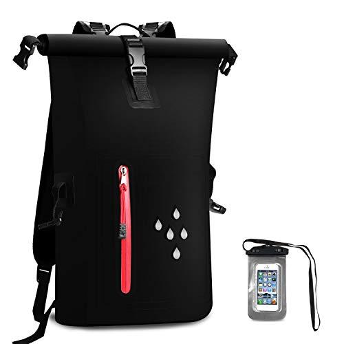 SCHITEC Bolsa Seca 25L / Dry Bag Bolsa estanca Mochila Impermeable para secar Camara para Mochilas Hombre Protección de Agua para navegar, Playa, Kayak, esquí, Pesca, Camping, natación