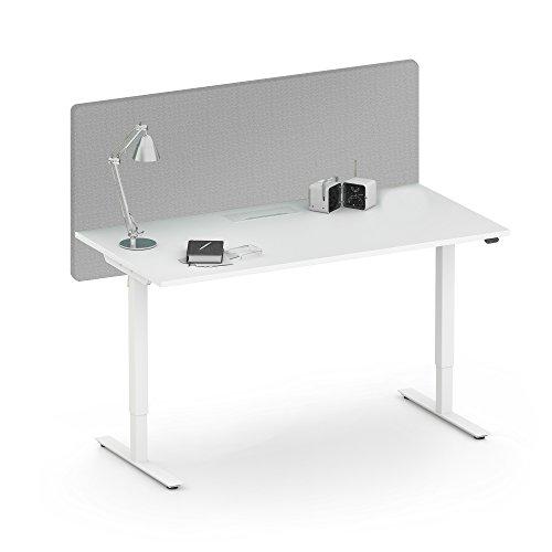 Weber Büroleben GmbH Akustik Tischtrennwand Desk Sichtschutz Lärmschutz Schallabsorbierend Raumteiler, Farbe:GS8 - Hellgrau meliert, Größe:1600x36. H=760 mm