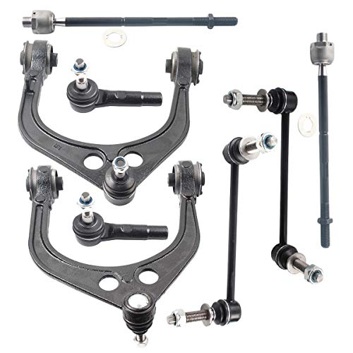 DLZ 8 Pcs Front Suspension Kit-2 Upper Control Arm Ball Joint Assembly 4 Tie Rod End 2 Sway Bar Compatible With 300 2005-2010 Replacement For Charger 2006-2010 EV80702 ES3571 CK620177 K80823 K80822