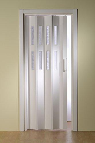 Kunststoff - Falttür mit 2 Fenster Luciana weiß 88,5x202 cm doppelwandig 10 mm; Made in Italy
