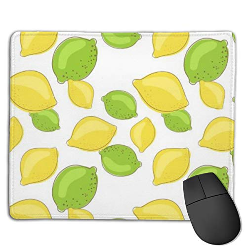 Gaming Mousepad Green Lemon and Lime Fruits On White Background 11.81 9.84 Inch Medium Speed Soft Gaming Mouse Mat