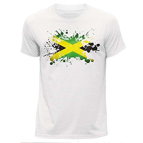 Stuff4 - Camiseta de manga corta para hombre, diseño de bandera de Jamaica blanco S