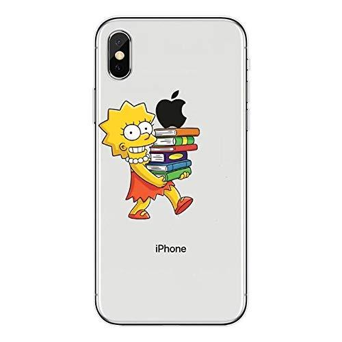 JLFDHR Soft Clear Funda para teléfono móvil para iPhone X XS MAX XR 6 6s 7 8 Plus SE 5SFunda Trasera Coque-para iPhone SE 5 5S-Soft TPU Simpson
