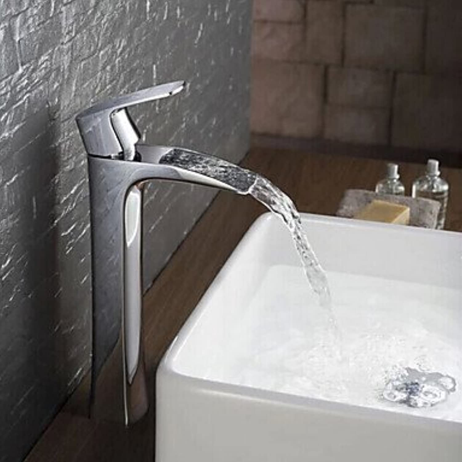 GAOLI Basin Faucets Contemporary Modern Central Position Waterfall with Ceramic alve Handed a Hole for Chrome, Sink Faucet, hot Cold