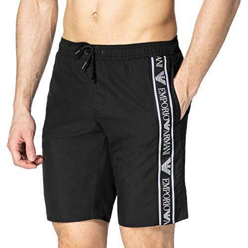 Emporio Armani Swimwear Bermuda Bold Logo Tape Costume da Bagno, Black, 50 Uomo