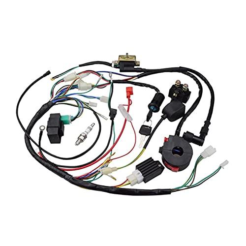 XIXI-Home ATV 150CC 200CC 250cc Encendido Bobina arnés Interruptor de Encendido Cableado de arnés rectificador CDI ATV Solenoide Spark Plug Quad Pit D (Color : Black)